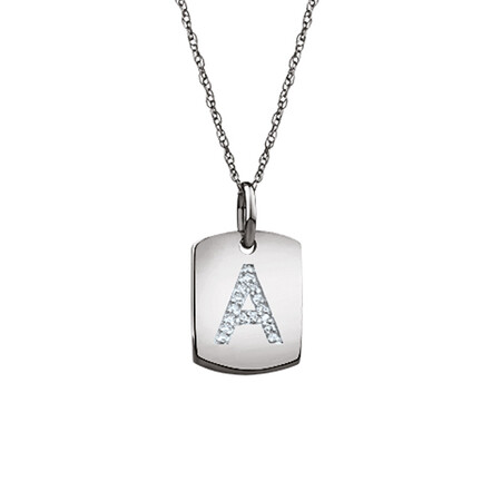 """""""A"""" Initial Rectangular Pendant With Diamonds In 10ct White Gold"""