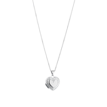 Heart Locket Pendant in 10ct White Gold & Sterling Silver