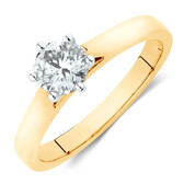 Solitaire Engagement Ring with a 0.70 Carat TW Diamond in 14ct Yellow & White Gold