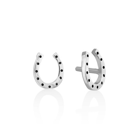 Mini Horseshoe Stud Earrings in Sterling Silver