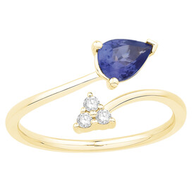 Ring with Tanzanite & Diamond in 10ct Yellow Gold