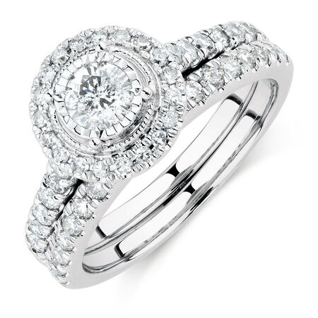 Bridal Set with 1 Carat TW of Diamonds in 14ct White Gold