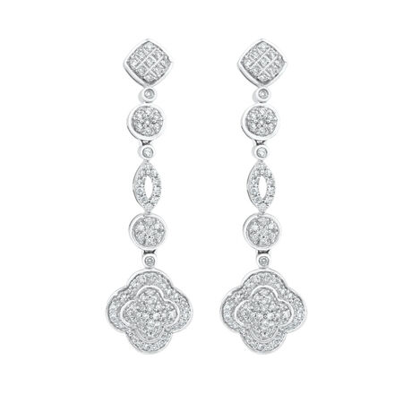 Drop Earrings with 3/4 Carat TW of Diamonds in 10ct White Gold