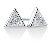 Triangle Stud Earrings with Cubic Zirconia in Sterling Silver