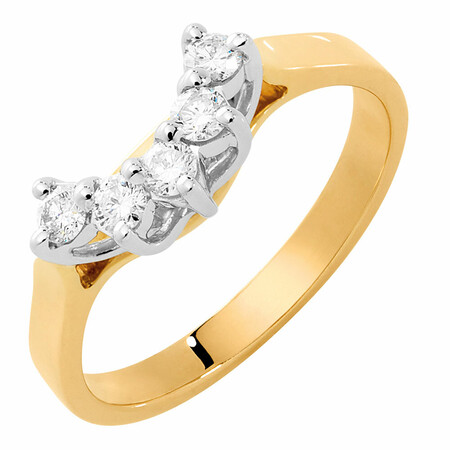 Wedding Band with 1/4 Carat TW of Diamonds in 10ct Yellow & White Gold