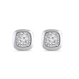 Circle Stud Earrings with Diamonds in 10ct White Gold