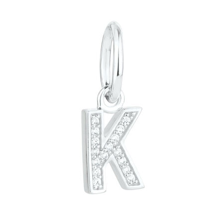 """""""K"""" Initial Mini Pendant with Cubic Zirconia in Sterling Silver"""
