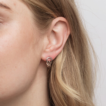 Knots Earrings in Sterling Silver & 10ct Rose Gold