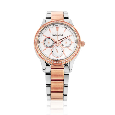 Ladies Watch with Cubic Zirconias & Mother of Pearl in Silver & Rose Tone Stainless Steel