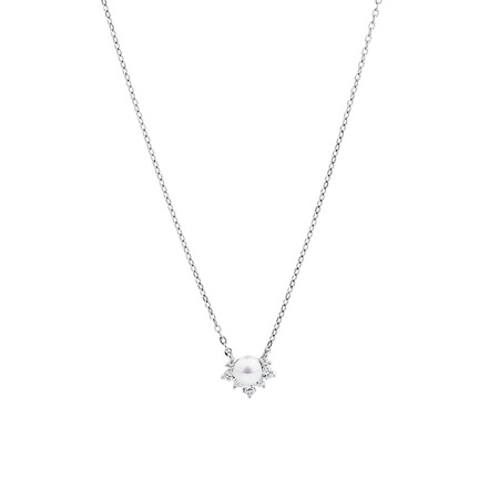 Necklace with Cultured Freshwater Pearl & Cubic Zirconia in Sterling Silver