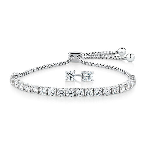 Tennis Bracelet & Stud Earring Set with Cubic Zirconia in Sterling Silver