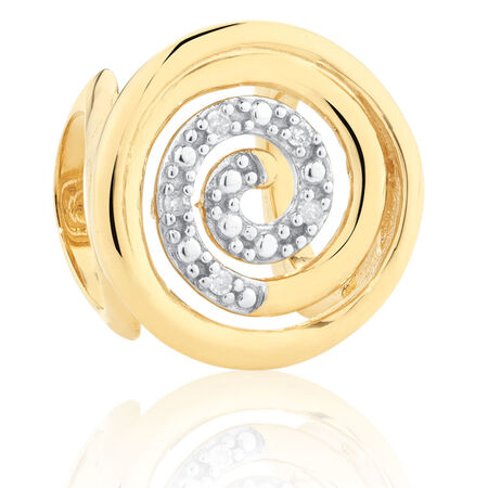 Diamond Set Spiral Wild Hearts Charm in 10ct Yellow & White Gold
