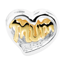 Online Exclusive - Diamond Set, 10ct Yellow Gold & Sterling Silver Mum Charm