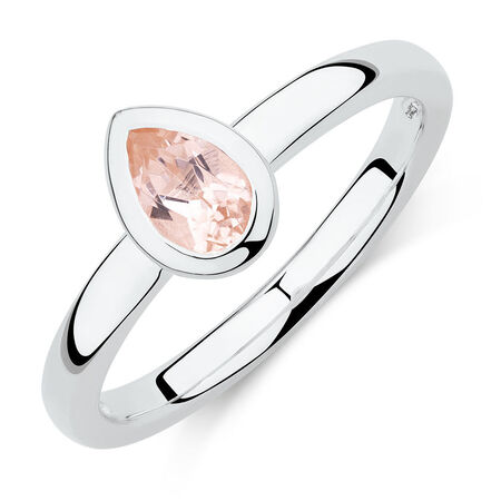 Pear Ring with Blush Cubic Zirconia in Sterling Silver