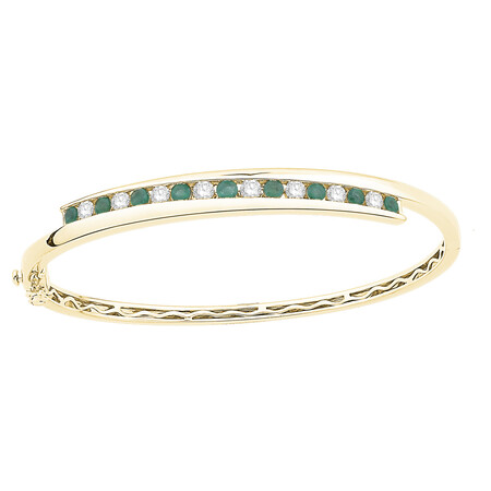 Bangle with Natural Emerald &  0.72 Carat TW of Diamonds in 10ct Yellow Gold