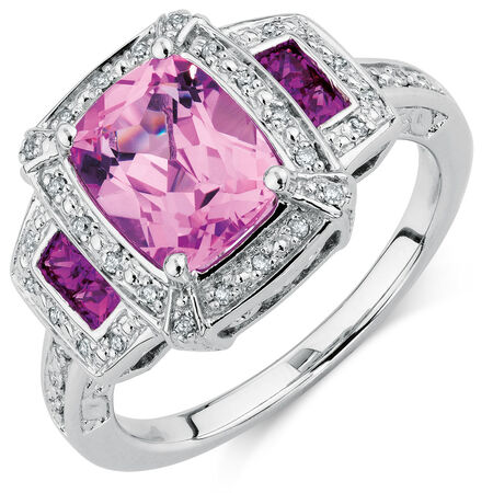 Online Exclusive - Ring with Created Pink Sapphire & Diamonds in Sterling Silver