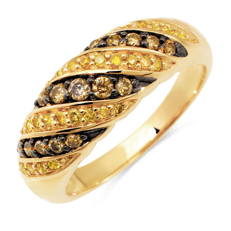 Ring with 1/2 Carat TW of Champagne & Enhanced Yellow Diamonds in 10ct Yellow Gold