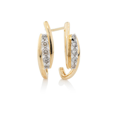 Hoop Earrings with 0.34 Carat TW of Diamonds in 10ct Yellow Gold