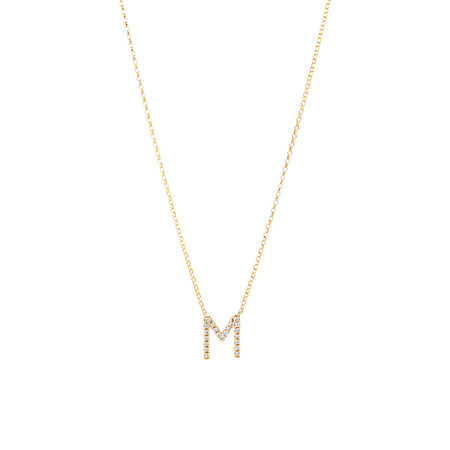 """""""M"""" Initial Necklace with 0.10 Carat TW of Diamonds in 10ct Yellow Gold"""