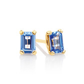 Stud Earrings with Created Blue Sapphire in 10ct Yellow Gold