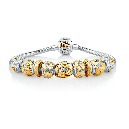 """19cm (7.5"""") Diamond Set Ready To Wear Bracelet with 9 Charms in Sterling Silver & 10ct Yellow Gold"""