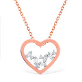 Heart Necklace With Diamonds In 10ct Rose Gold