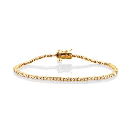 Tennis Bracelet with 1 Carat TW of Diamonds in 10ct Yellow Gold