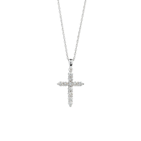 Cross Pendant with 0.34 Carat TW of Diamonds in 10ct White Gold