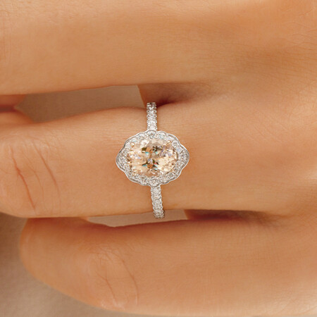 Sir Michael Hill Designer Engagement Ring with Morganite & 0.40 Carat TW of Diamonds in 18ct White Gold