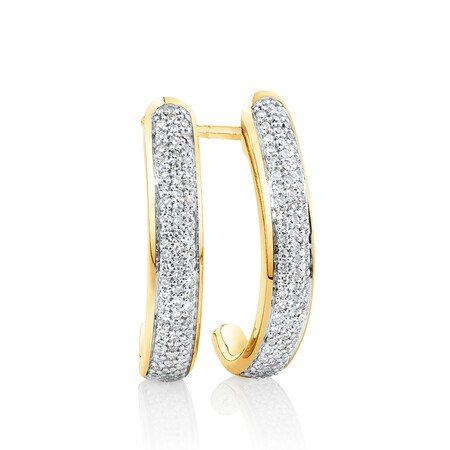 Hoop Earrings with 0.25 Carat TW of Diamonds in 10ct Yellow Gold