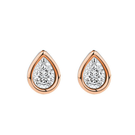 Diamond Set Earring & Enhancer Set in 10ct Rose Gold & Sterling Silver