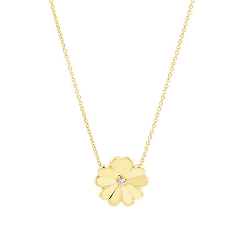 Flower Necklace with Diamonds in 10ct Yellow Gold
