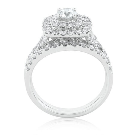 Bridal Set with 1 3/4 Carat TW of Diamonds in 14ct White Gold