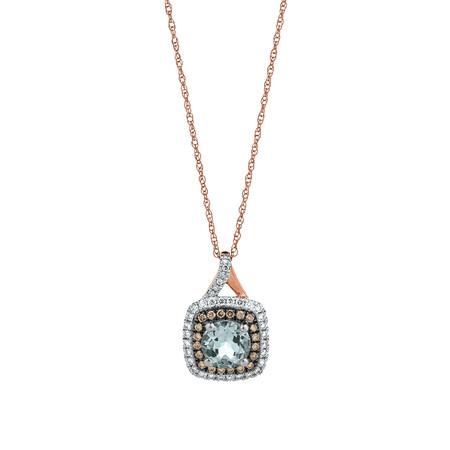 Pendant with Aquamarine & 0.27 Carat TW of White & Brown Diamonds in 10ct Rose Gold