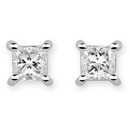 Stud Earrings with 1/2 Carat TW of Diamonds in 18ct White Gold