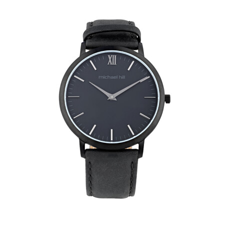 Watch in Black Tone Stainless Steel & Black Leather
