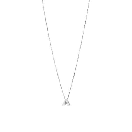 A' Initial Necklace in Sterling Silver