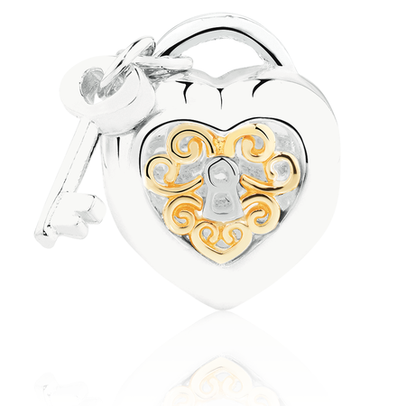 Heart Locket & Key Charm in Sterling Silver & 10ct Yellow Gold