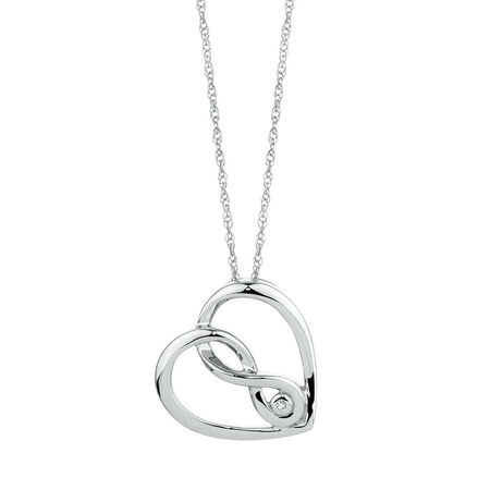 Infinitas Pendant with a Diamond in Sterling Silver
