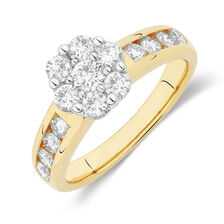 Online Exclusive - Cluster Ring with 1 Carat TW of Diamonds in 18ct Yellow and White Gold
