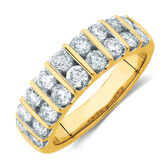 Ring with 1 1/2 Carat TW of Diamonds in 10ct Yellow Gold
