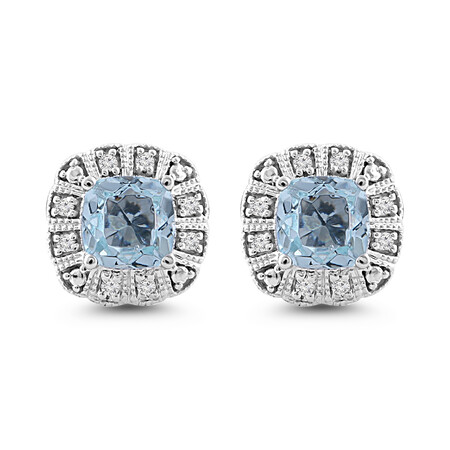 Stud Earrings with Aquamarine & Diamond in 10ct White Gold