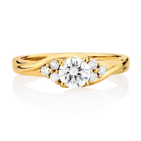 Engagement Ring with 0.60 Carat TW of Diamonds in 14ct Yellow Gold