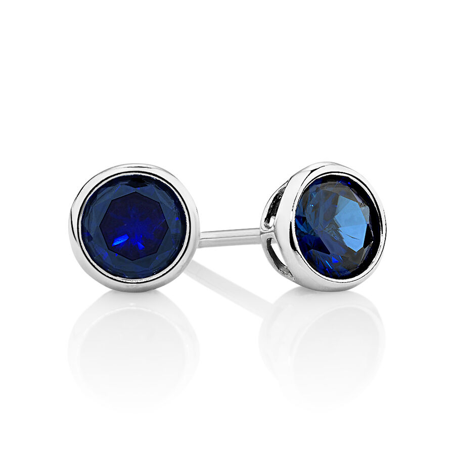 Stud Earrings with Dark Blue Cubic Zirconia in Sterling Silver