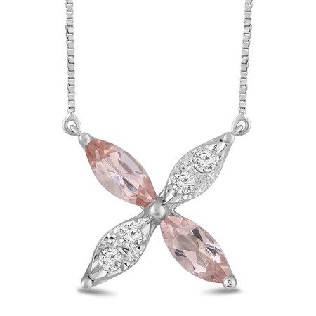 Flower Necklace with Morganite and 0.10 Carat TW of Diamonds in 10ct White Gold