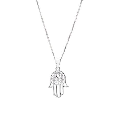 Hamsa Hand Pendant in 10ct White Gold