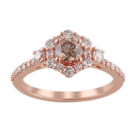Ring with 1.10 Carat TW of Diamonds in 14ct Rose Gold
