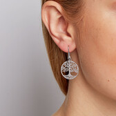 Tree of Life Drop Earrings in Sterling Silver