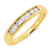 Wedding Band with 1/4 Carat TW of Diamonds in 18ct Yellow Gold