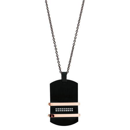 Men's Pendant with Cubic Zirconia in Black PVD & Rose Plated Stainless Steel